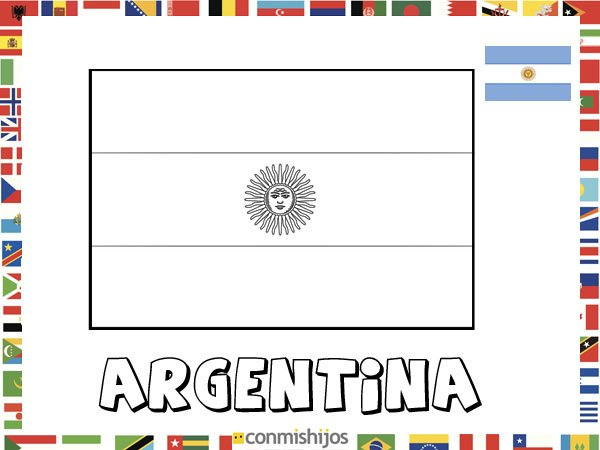 Niños De Paises Para Pintar: Bandera De Argentina. Dibujos De Banderas Para Pintar