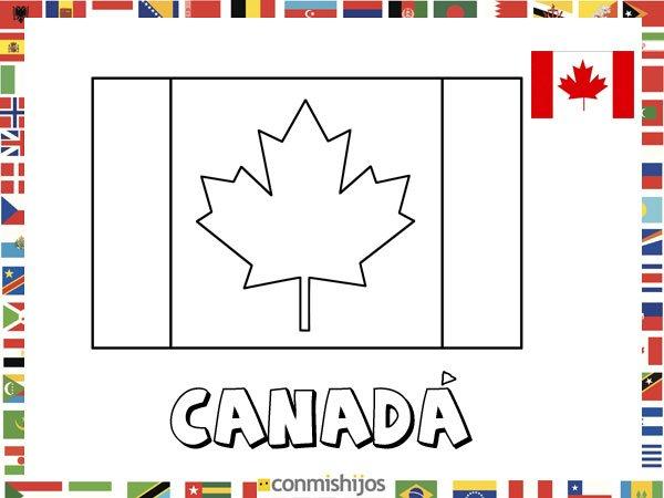 Bandera de Canadá. Dibujos de banderas para pintar