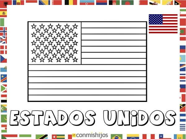 Bandera de Estados Unidos. Dibujos de banderas para pintar