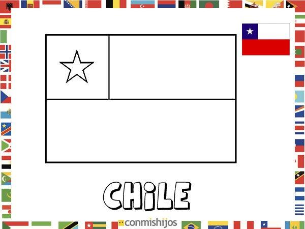 Dibujo De Chilena Para Colorear: Bandera De Chile. Dibujos De Banderas Para Pintar