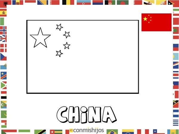 Bandera de China. Dibujos de banderas para pintar