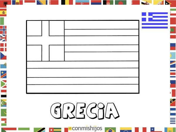 Niños De Paises Para Pintar: Bandera De Grecia. Dibujos De Banderas Para Pintar