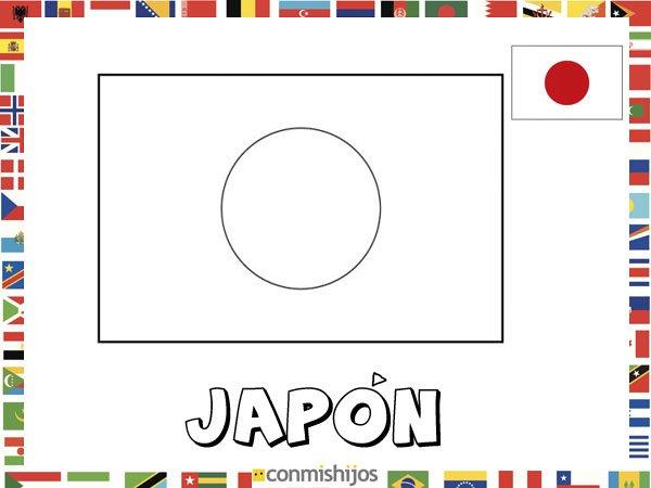 Bandera de Japón. Dibujos de banderas para pintar