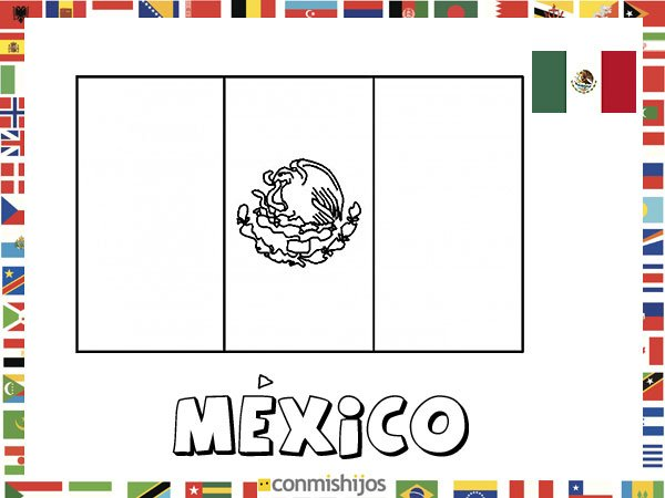 Niños De Paises Para Pintar: Bandera De México. Dibujos De Banderas Para Pintar