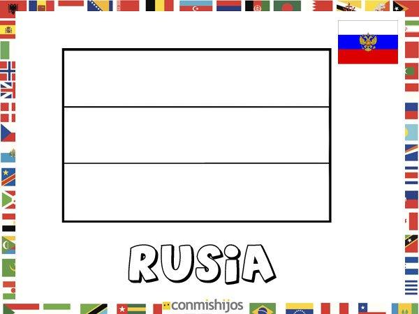 Bandera de Rusia. Dibujos de banderas para pintar