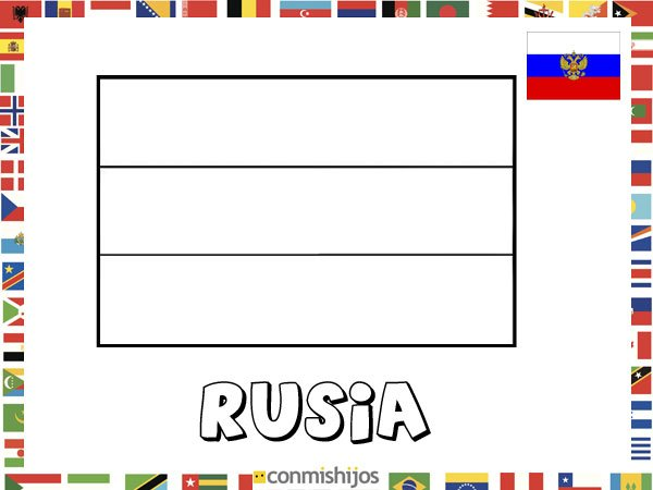 Niños De Paises Para Pintar: Bandera De Rusia. Dibujos De Banderas Para Pintar