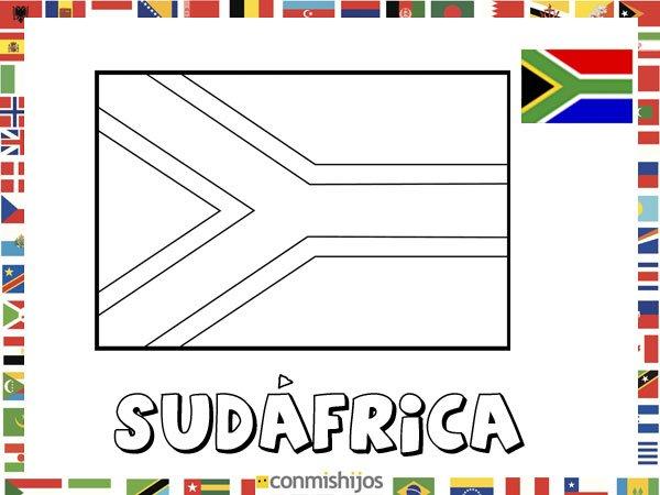 Bandera de Sudáfrica. Dibujos de banderas para pintar