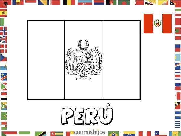 Bandera de Perú. Dibujos de banderas para pintar
