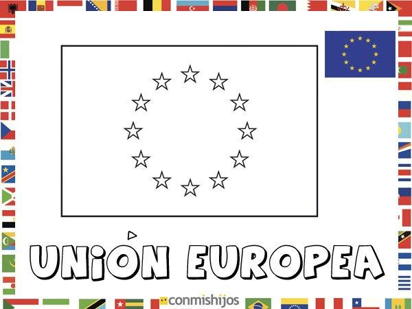 Bandera de la Unión Europea. Dibujos de banderas para pintar