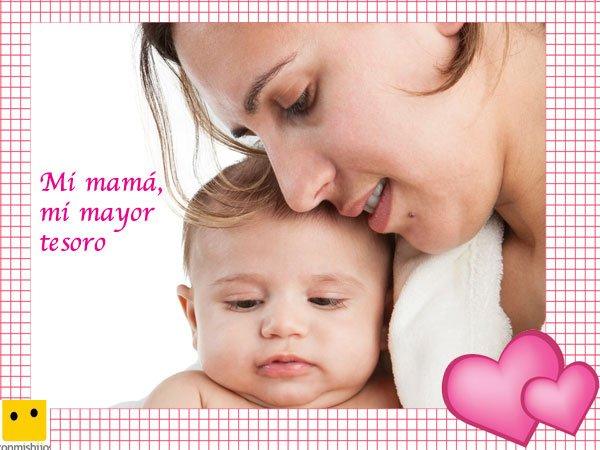 Postales para regalar el Día de la Madre. Mamá y su bebé