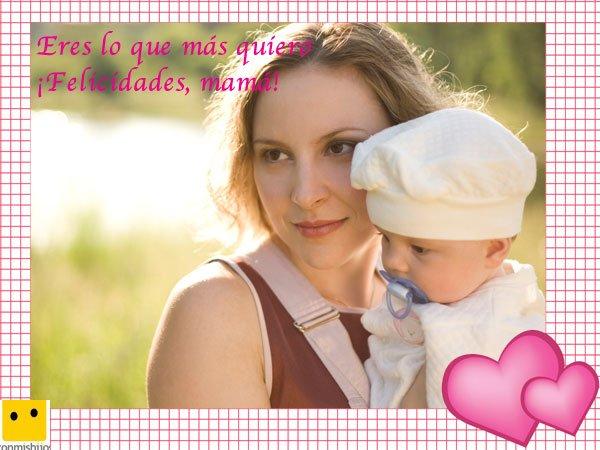 Madre con su niña. Postales del Día de la Madre