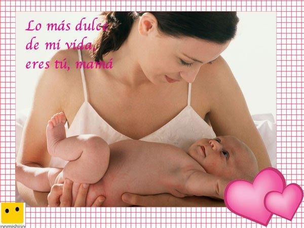 Bebé con su mamá. Postales del Día de la Madre