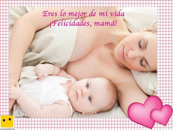 Mamá durmiendo con su hijo. Postales del Día de la Madre