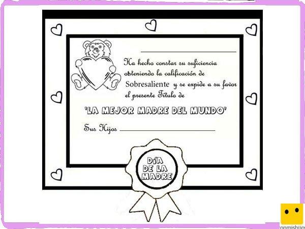 Dibujos Para Colorear Diploma A La Mejor Madre