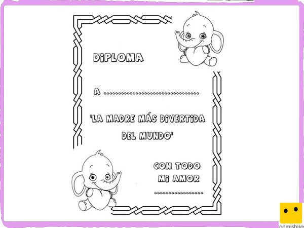 para colorear Diploma para la madre ms divertida