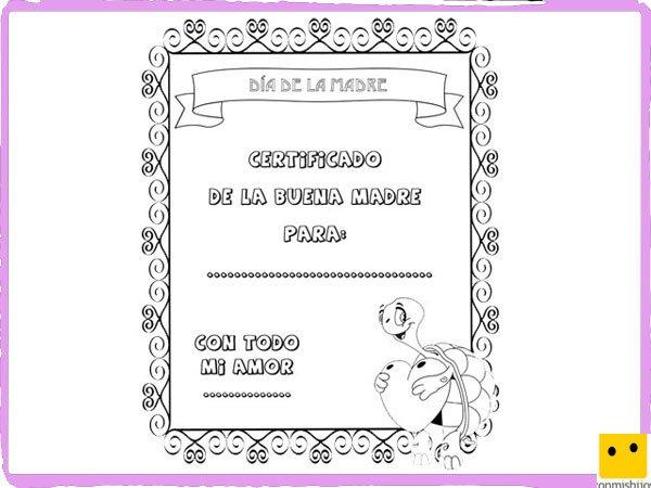 Dibujos para colorear. Diploma Día de la Madre