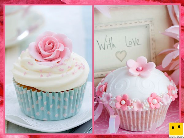 Cupcakes de nata y flores para regalar el Día de la Madre