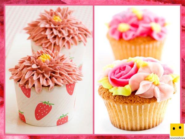 Cupcakes en forma de flores para regalar el Día de la Madre