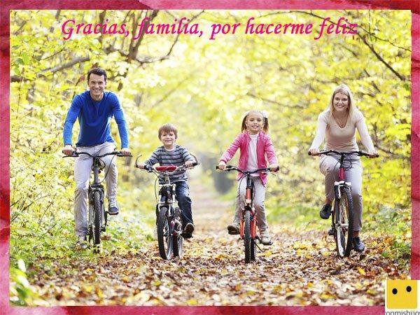 Tarjetas para el Día de la Familia. Padres y sus hijos de excursión