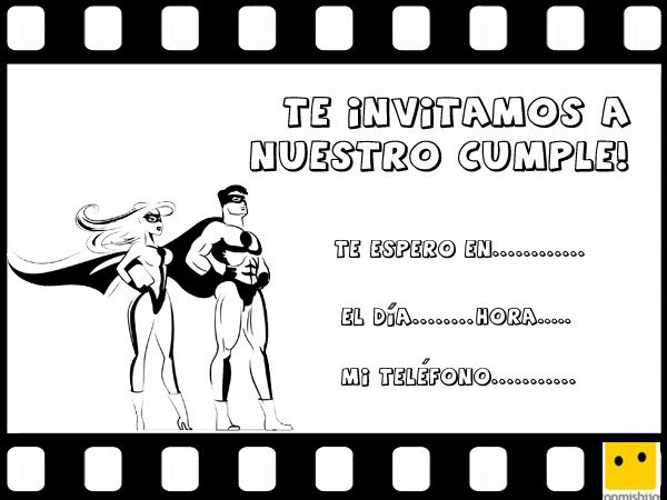 Invitación de cumpleaños infantil con dibujo de superhéroe de cómic