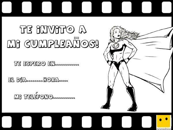 Tarjetas de invitación de cumpleaños con dibujos de heroínas de cómic