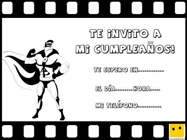 Invitaciones infantiles de cumpleaños con dibujos de películas de superhéroes