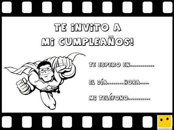 Tarjetas de invitación a cumpleaños con dibujos de superhéroes para niños