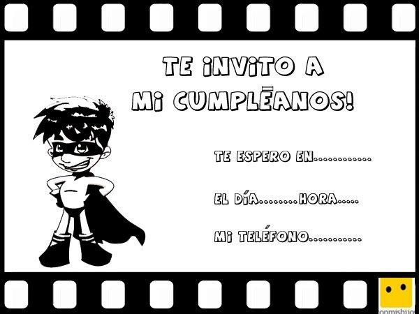 Invitaciones infantiles para fiestas de cumpleaños con dibujos de cómics