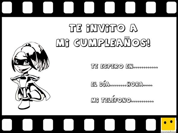 Invitaciones de cumpleaños con un dibujo de niña heroína