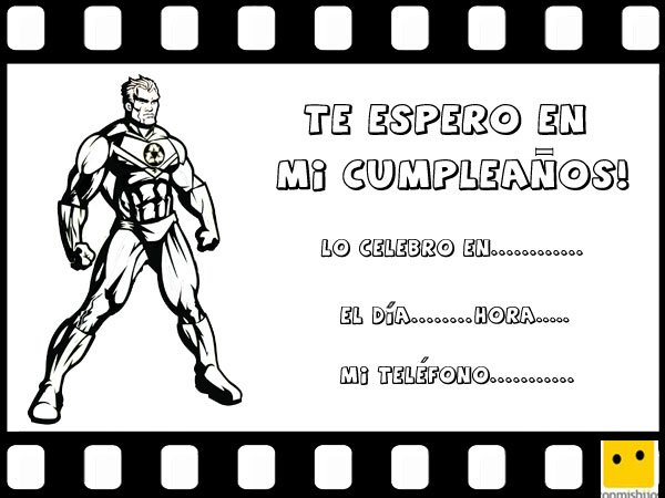 Invitaciones de cumpleaños con dibujos de héroes de cómic