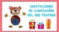 Invitaciones de cumpleaños para imprimir con el Oso Traposo