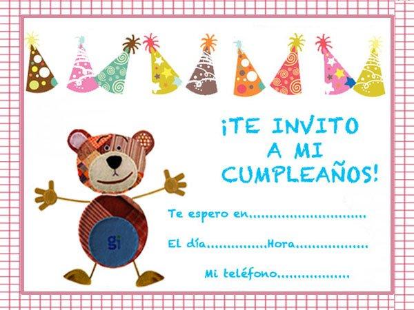 Invitaciones De Cumpleaños Con Dibujos Infantiles Del Oso