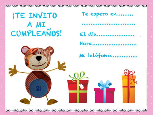 Invitaciones de cumplea os con el oso traposo y regalos for Regalos para fiestas de cumpleanos infantiles