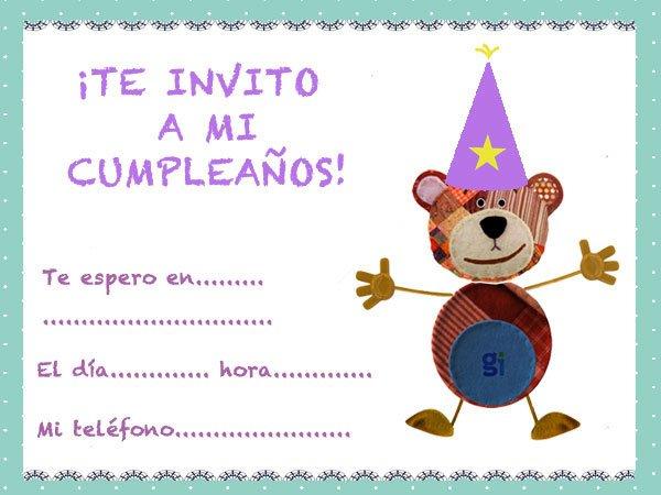 Invitaciones de cumplea os para ni os con el oso traposo - Disenos de tarjetas de cumpleanos para ninos ...