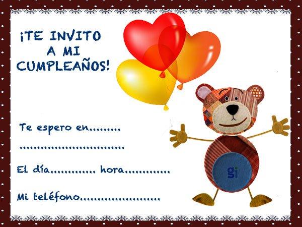 Invitaciones De Cumpleaños Para Niños Del Oso Traposo Con Globos