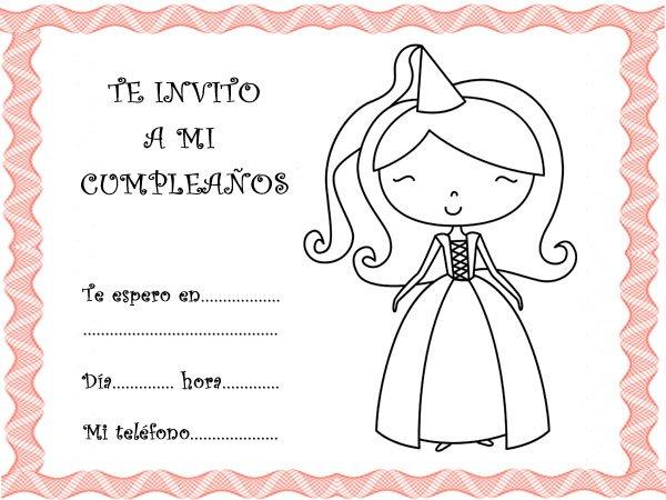 Invitación para fiestas de Cumpleaños con dibujos de princesas de cuento