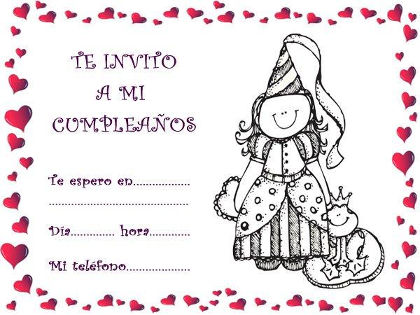 Invitaciones de cumpleaños con una princesa sonriente