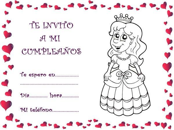 Tarjetas de invitación de cumpleaños infantiles caseras con princesas