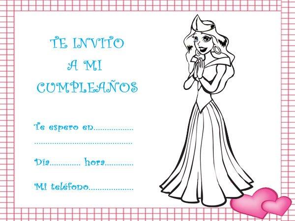 Invitaciones De Cumpleaños Con Dibujos Para Imprimir De Princesas