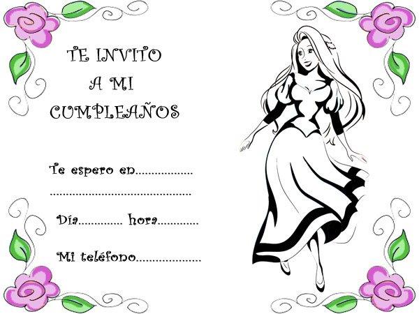 Invitaciones de cumpleaños con un dibujo de una joven princesa