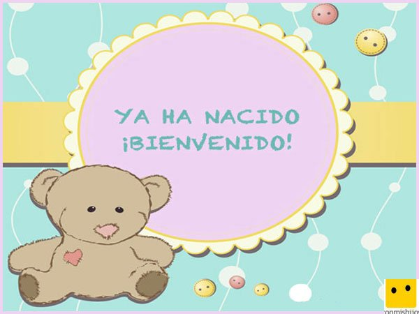 Tarjeta infantil con un oso de peluche para celebrar un nacimiento