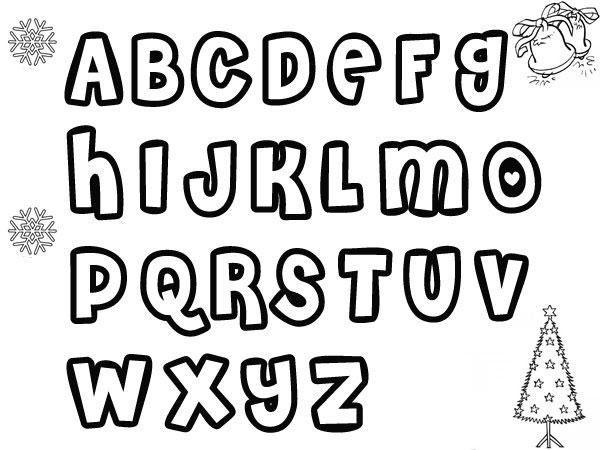 Dibujos del abecedario de Navidad para colorear con los niños