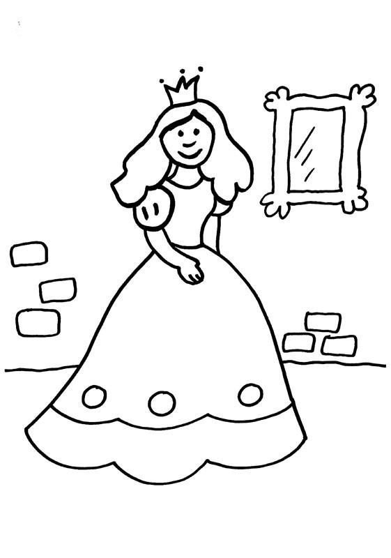 Princesa delante del espejo: dibujo para colorear e imprimir