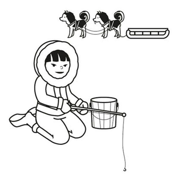Niño esquimal: dibujo para colorear e imprimir