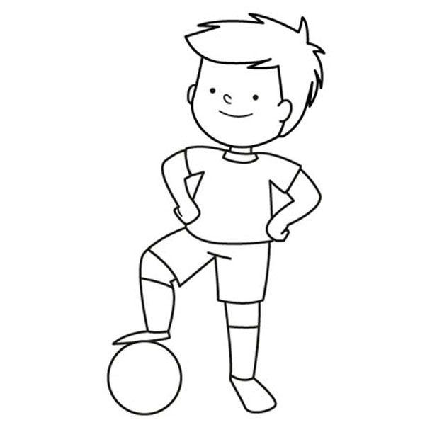 Niño jugando al fútbol con su pelota: dibujo para colorear e imprimir