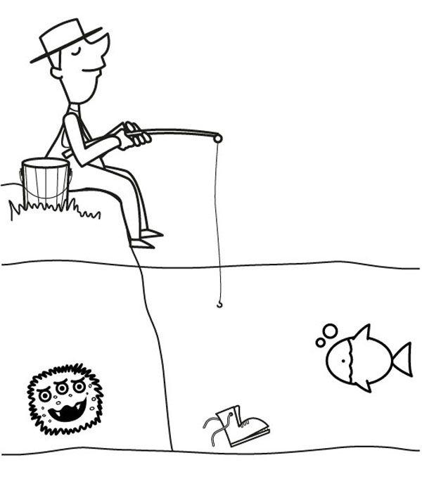 Pescador: dibujo para colorear e imprimir