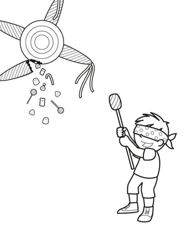 Piñata de cumpleaños: dibujo para colorear e imprimir