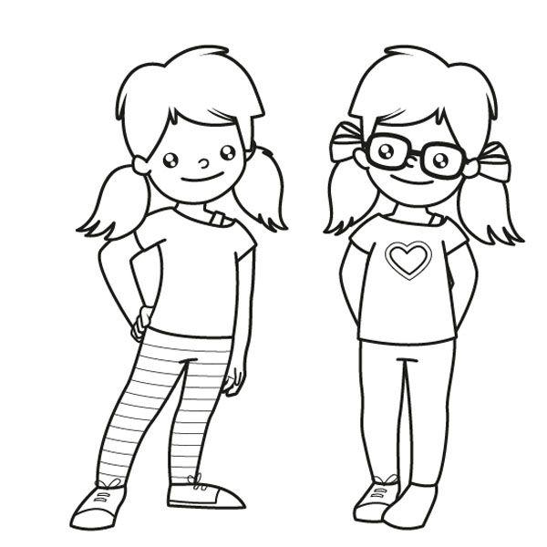 Hermanas gemelas: dibujo para colorear e imprimir