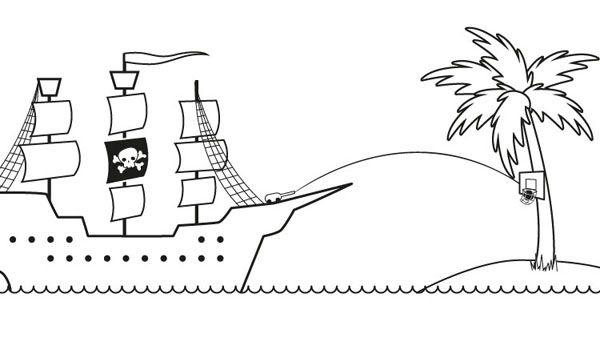 Barco pirata dibujo para colorear e imprimir - Islas con ninos ...