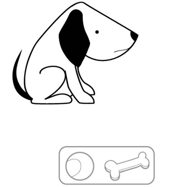Perro sin sus juguetes: dibujo para colorear e imprimir